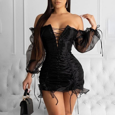 long sleeve dress, chiffon dress, Evening Dress, Dress