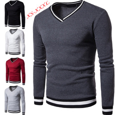 Polyester, long sleeved shirt, solidcolorsweater, mens tops