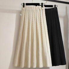 pencil skirt, Winter, Elastic, Pleated