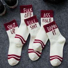 Hosiery & Socks, Funny, Cotton Socks, letter print
