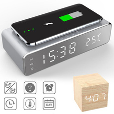 led, deskalarmclock, wirelessphonecharger, Clock