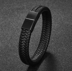Charm Bracelet, black bracelet, bikerbracelet, Stainless Steel
