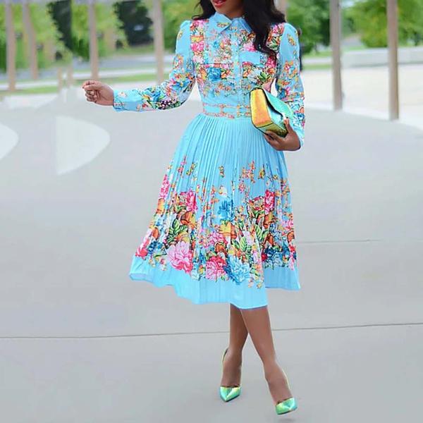 Plus Size, print dress, Office, long dress