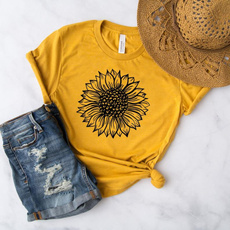 cute, Fashion, Sunflowers, letter print