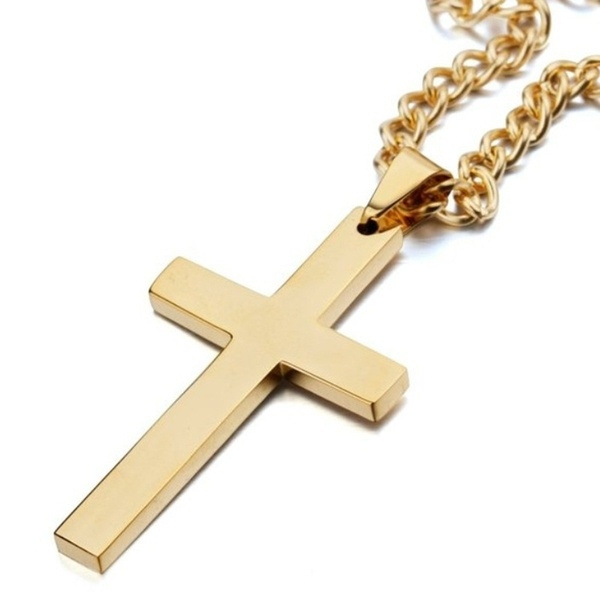 goldplated, Men  Necklace, Christmas, Cross Pendant