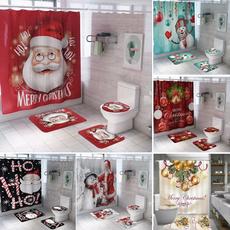 christmascurtain, bathroomdecor, Christmas, toiletmat