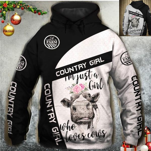 3D hoodies, Flowers, Winter, cow