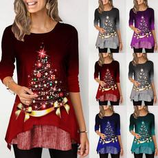 gradientcolor, blouse, christmastreeprint, Shirt