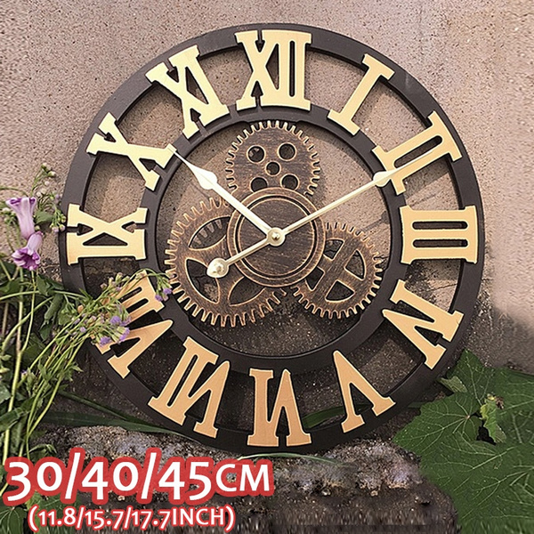 golden, Clock, Wooden, Vintage