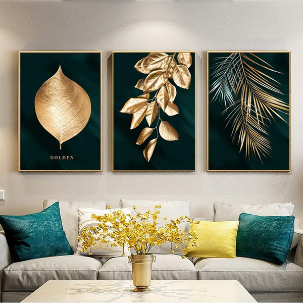 golden, Plants, Modern, art