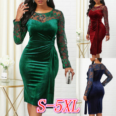 summer dress, roundneckdres, solidcolordres, Long Sleeve