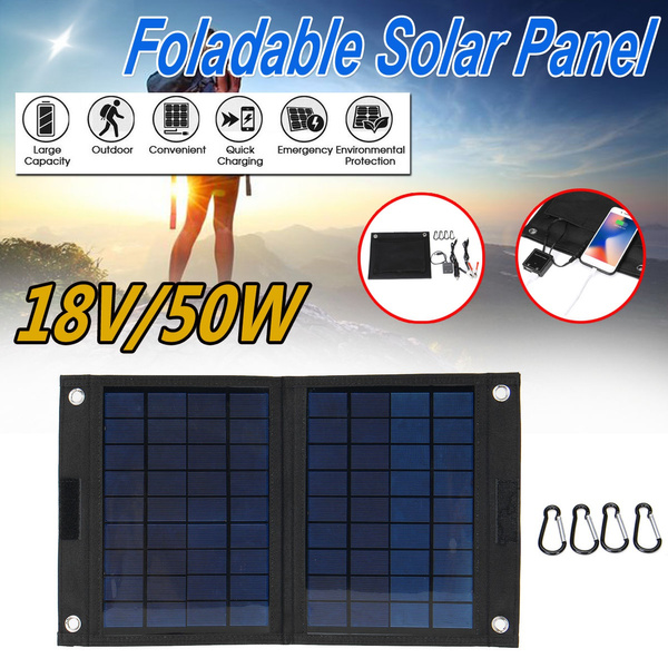 50W Dual USB Solar Panel Foldable Power Bank Panel Camping Hiking Phone Charger