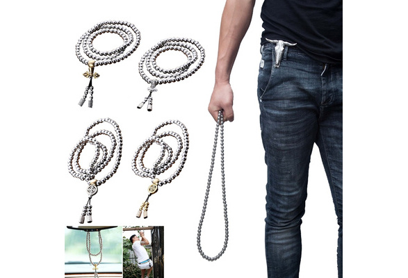 C Outdoor Tactical 108 Buddha Beads Self-defense Hand Chain Necklace Bracelet Full Steel Chain Personal Protection Supplies Self-defense Hand Chain