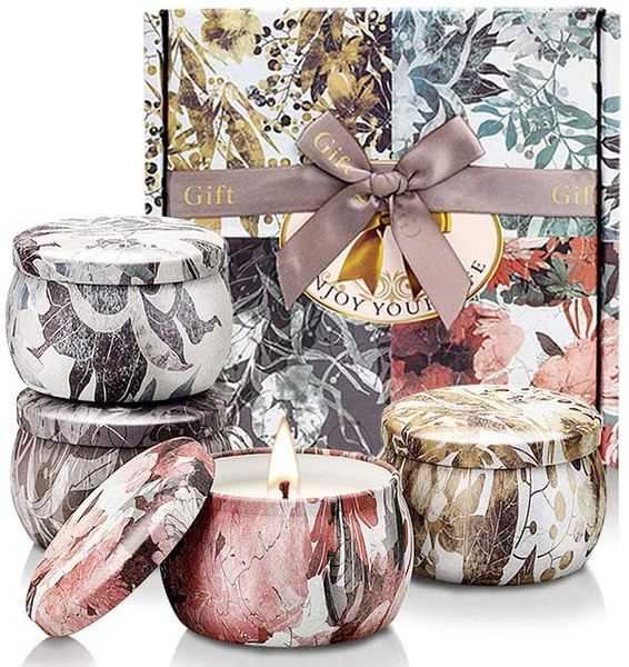 Scented Candles Aromatherapy Soy Set:Rose Lavender Vanilla Freesia Rosemary Jasmine Natural Wax Travel Tin Fragrance Relaxing Stress Relief Aroma Home Bath Spa Yoga Candle Gift for Women 6x2.5oz Pack