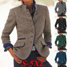 Stand Collar, Plus Size, Blazer, Outerwear
