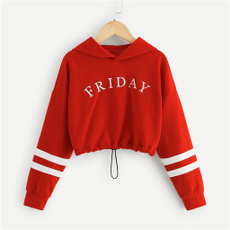 Fashion, Letters, Long Sleeve, Tops