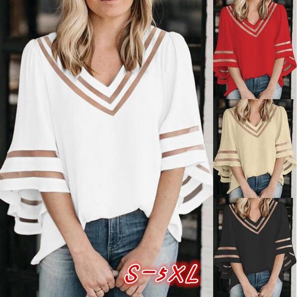 7 Color 2020 Summer New Women Fashion Sexy Short Sleeve Chiffon Tops Ladies Loose Half Sleeve Casual Deep V Neck Blouse S 5xl Wish