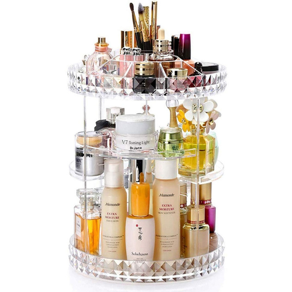 Enasui Acrylic Makeup Organizer Cosmetic Storage And Vanity Perfume Organizers In Countertop Bathroom Dresser 360 Rotating Makeup Holder Stand For Beauty Caddy Skincare Clear Diamond Pattern Wish