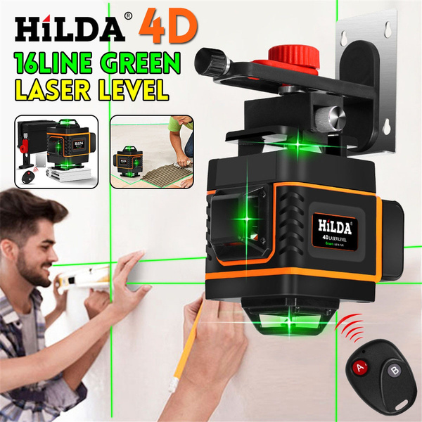 Hilda 4d 16 Lines Remote Control Green Light Waterproof Laser Level Auto Self Leveling 360 X4 Rotary Measure Cross Measure Tool Indoor Outdoor Wall Decoration Wish