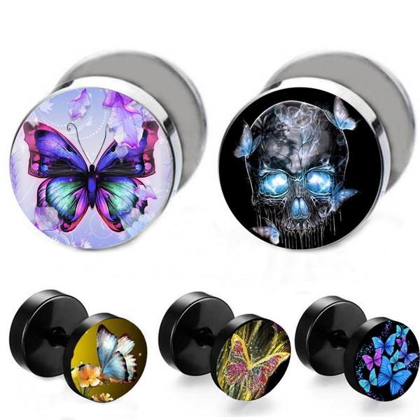 butterfly, cute, Goth, punk earring