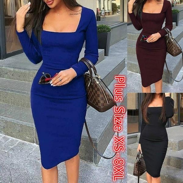 slim dress, Club Dress, Plus Size, neck dress