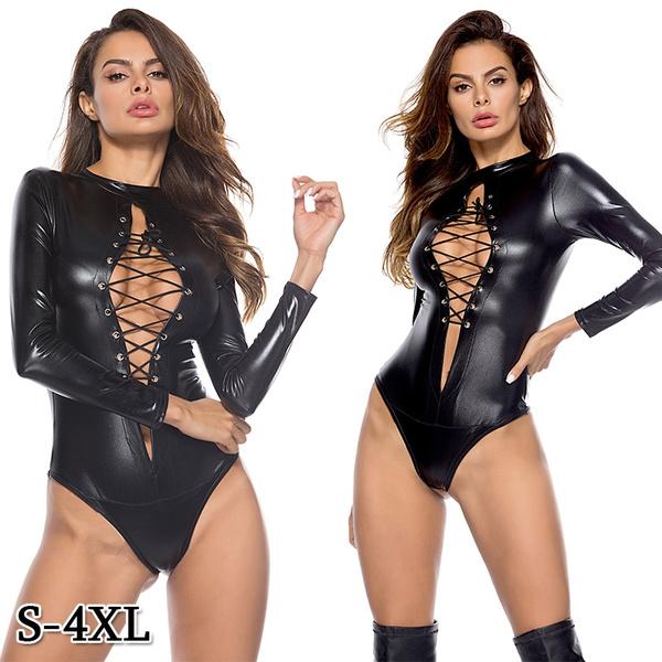 Plus Size, clubwear, leather, onepiece
