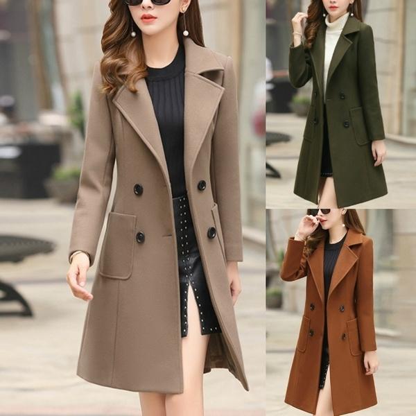 Slimwaist, woolen coat, Plus Size, Waist