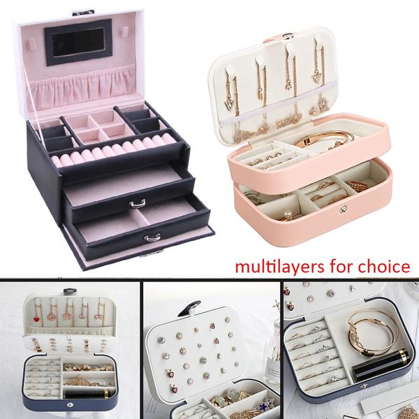 Korean Style Girls Earrings Plate Jewelry Box Ear Stud Ring Storage Box