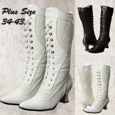 laceweddingshoe, midcalfboot, Lace, long boots