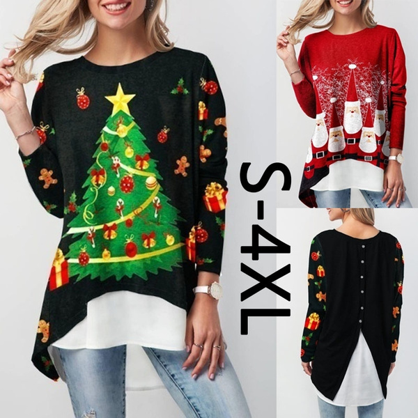 Christmas, Long Sleeve, Tops, Pullovers