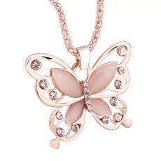 butterfly, Women, Diamond Necklace, Jewelry