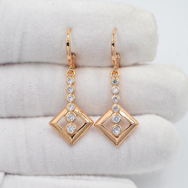 rhombusearring, yellow gold, Fashion, Dangle Earring