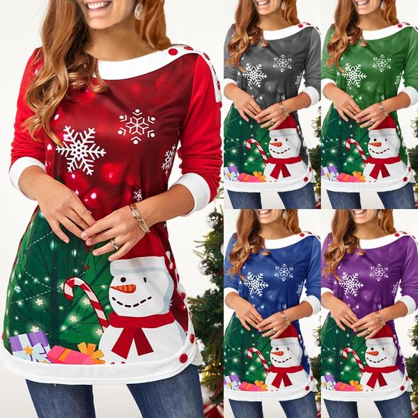 snowman, blouse, Plus Size, long sleeve blouse