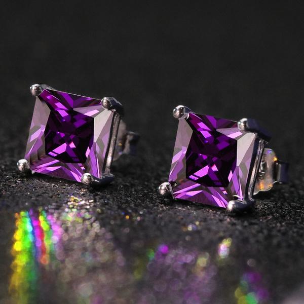 White Gold, purpleearring, gold, Stud Earring