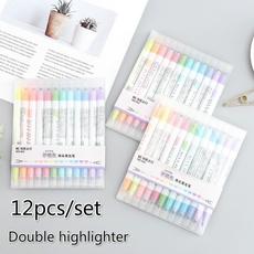 highlighterpen, ballpoint pen, School, highlighter