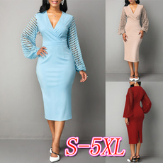 Sleeve, solidcolordres, plus size dress, Dress