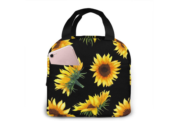 Wamika Spring Sunflowers Retro Flowers Lunch Bag Boxes Tote Insulated Reusable,T