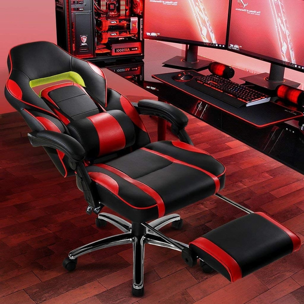 computerdesk, reclinerracingchair, 360degreerotation, leather