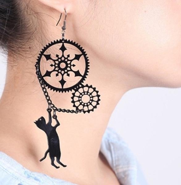 Funny, black, Hoop Earring, Jewelry