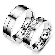 Steel, Couple Rings, DIAMOND, Love
