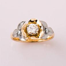 yellow gold, Flowers, leaf, Jewelry