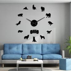 collie, silhouette, Home Decor, wanduhr