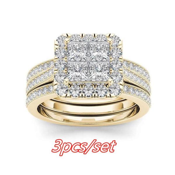 DIAMOND, Bridal, gold, ring3set