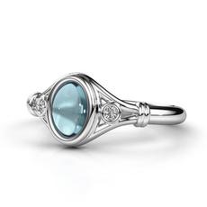 Sterling, DIAMOND, Moonstone, Engagement Ring