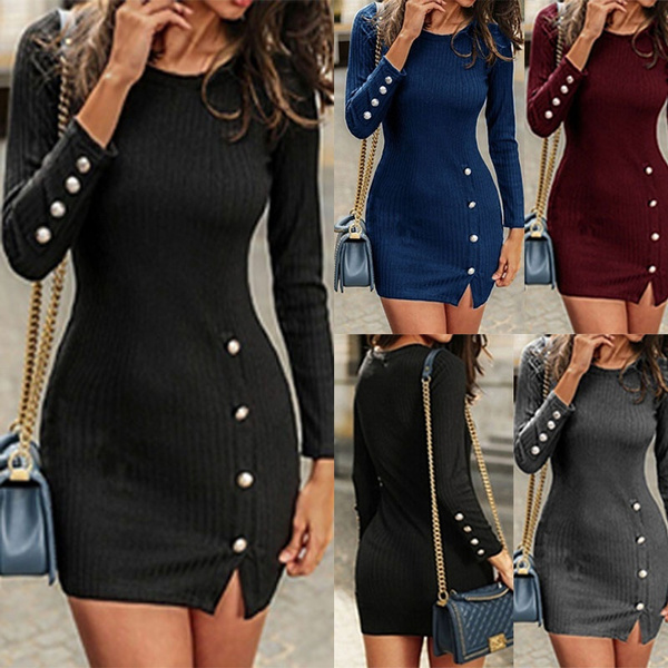 Fashion, Long Sleeve, Dress, slim