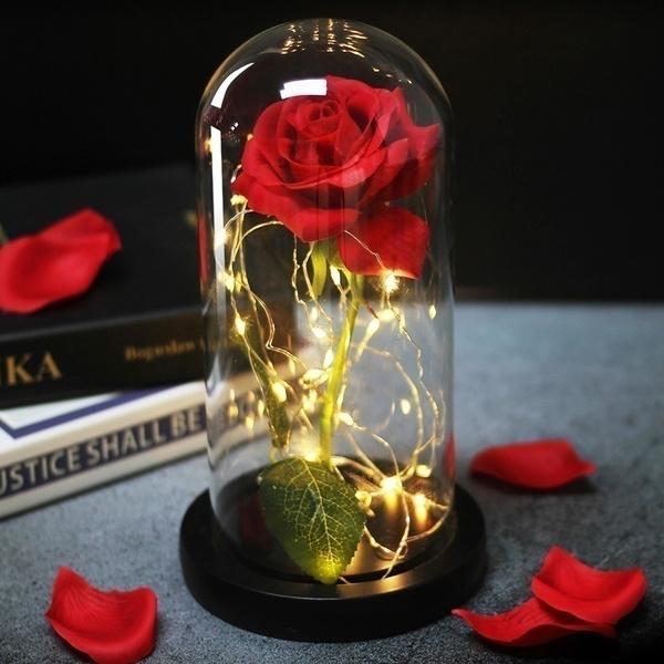 glasscoverroselamp, latex, Flowers, led