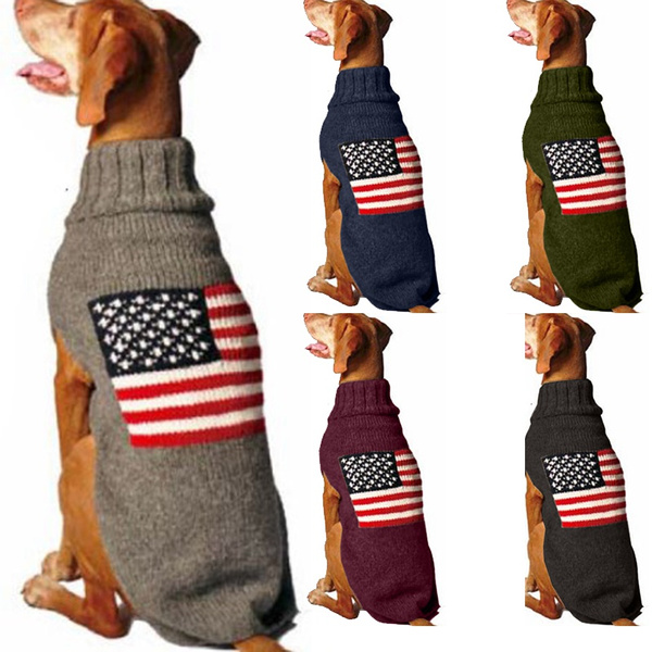 Plus Size, Dog Clothes, flagprinted, knitted