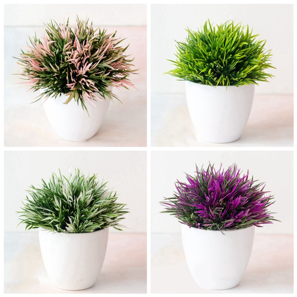 Home Decoration Fake Flower Eye Phoenix Bonsai Simulation Plant Decoration Flower Ball Grass Pot Vases Small Home Decor Ornaments Wish