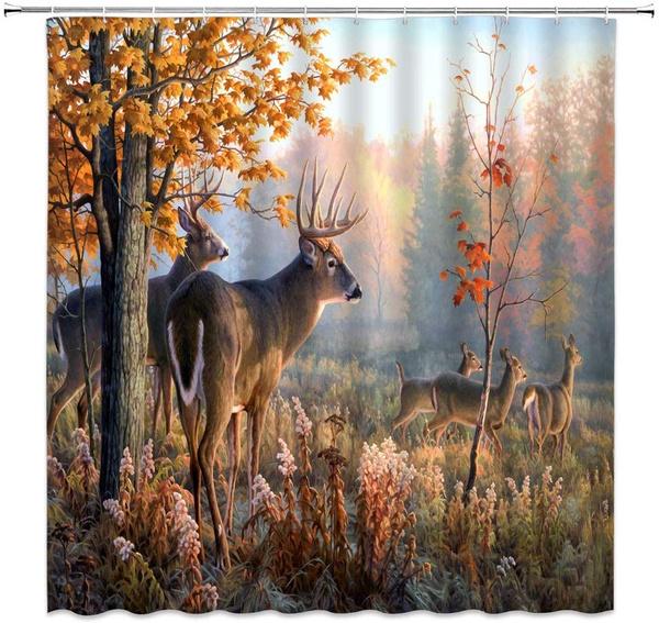 Deer Shower Curtain Autumn Wildlife, Wildlife Bathroom Decor