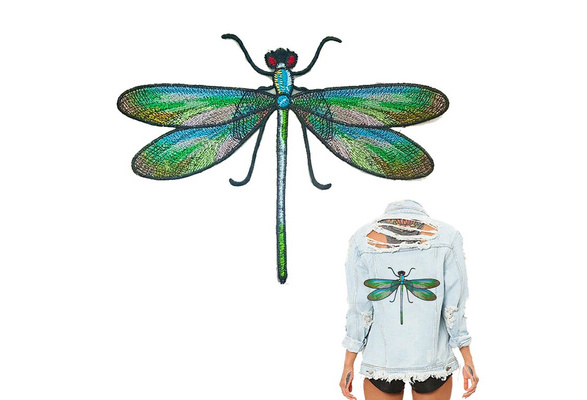 """2X1.5/""""  Dragonfly IRON ON PATCH Sew On Patch embroidery badge light blue yellow"""